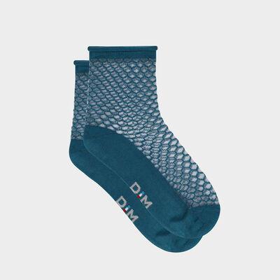 """Синие женские носки с прозрачным узором """"Чешуйки"""". Сделано во Франции, , DIM"""