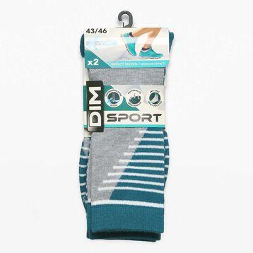 2 pack medium impact green and mottled grey men's socks - Dim Sport, , DIM
