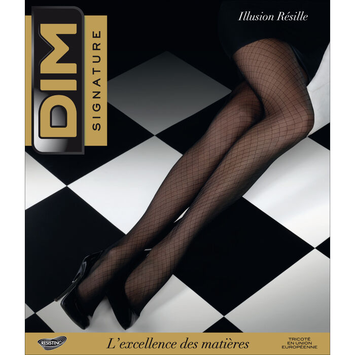 Black DIM Signature 20 fishnet illusion tights, , DIM