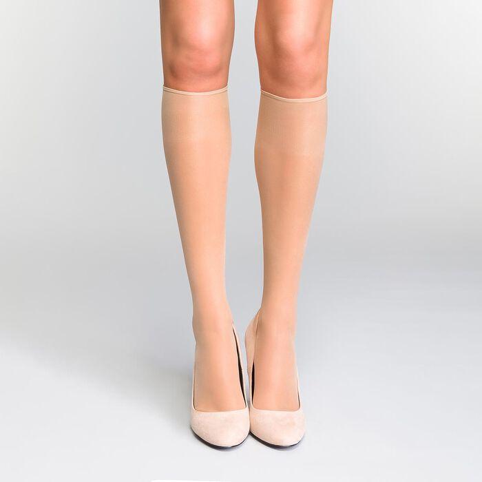 Pack of 2 pairs of Mes Essentiels 15 sheer knee highs in capri, , DIM