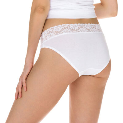 Комплект из 2 женских трусиков-слипов миди Coton Plus Féminine белого цвета, , DIM