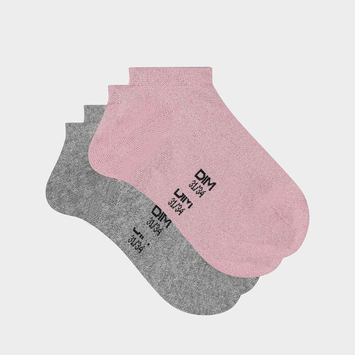 Lot de 2 paires de socquettes enfant coton lurex gris rose Coton Style, , DIM