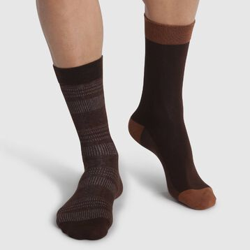 2 pack solid Brown and Polka Dots men's calf socks Cotton Style, , DIM