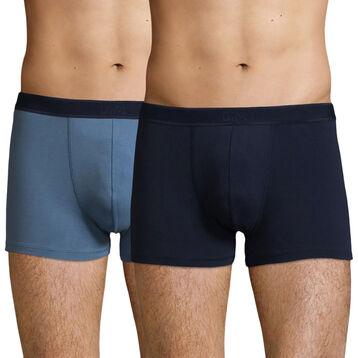 Lot de 2 boxers Coton Stretch Bleu Jean et Bleu Denim Soft Power, , DIM