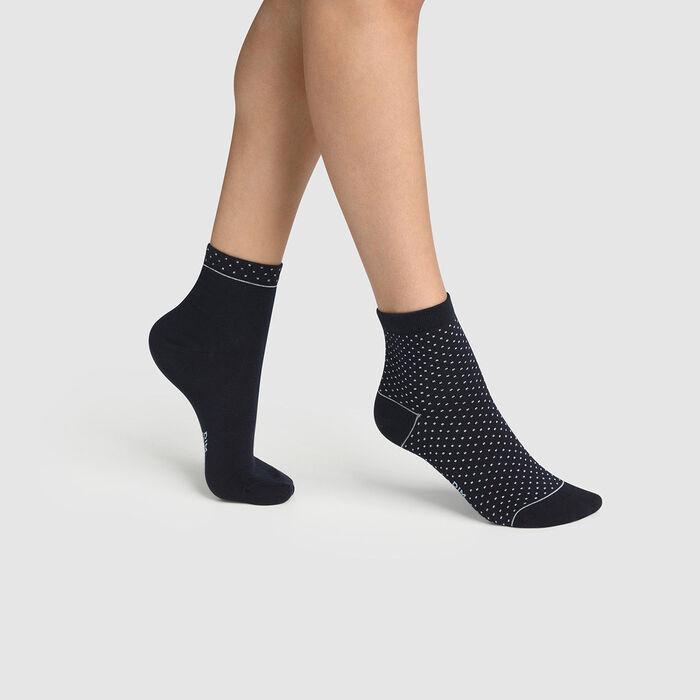 Lot de 2 paires de socquettes femme coton bio à pois Bleu Green by Dim, , DIM