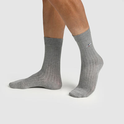 Men's ribbed sock grey grey ribbed stitch Made in France Dim, , DIM