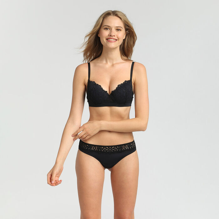Lace black thong Daily Glam, , DIM