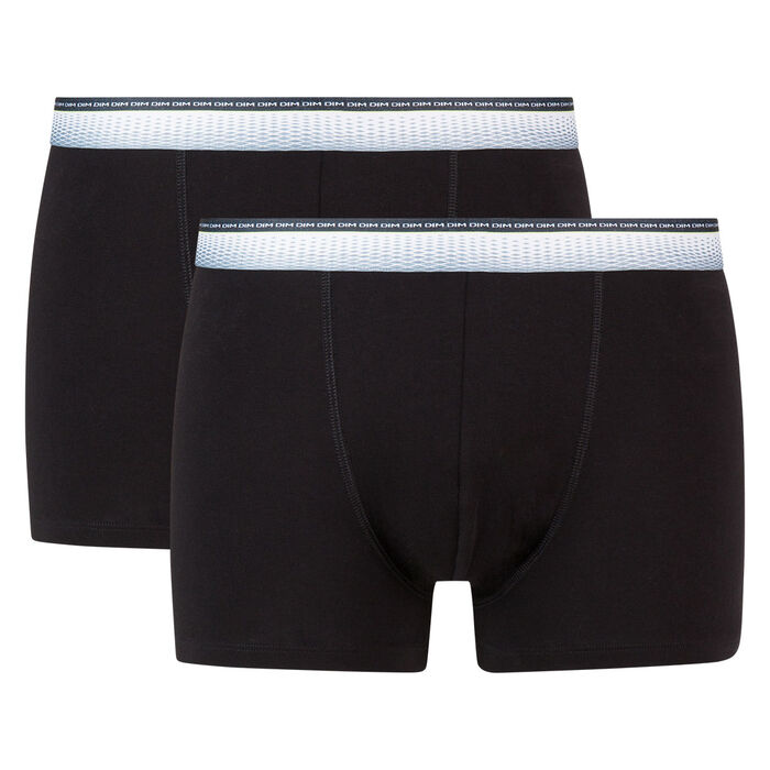 Absolu Fit 2 pack trunks in black with fitted waistband, , DIM