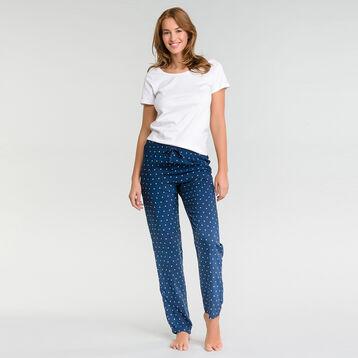 Pantalon pyjama bleu marine à pois blancs - Fashion, , DIM