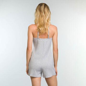 Combishort pour femme en coton stretch Gris Chiné Clair Casual Line, , DIM