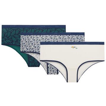 3 pack foliage pattern shorties - Les Pockets Coton Stretch, , DIM