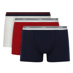 Lot de 3 boxers coton Bleu Denim, Blanc, Rouge Lave Daily Colors, , DIM