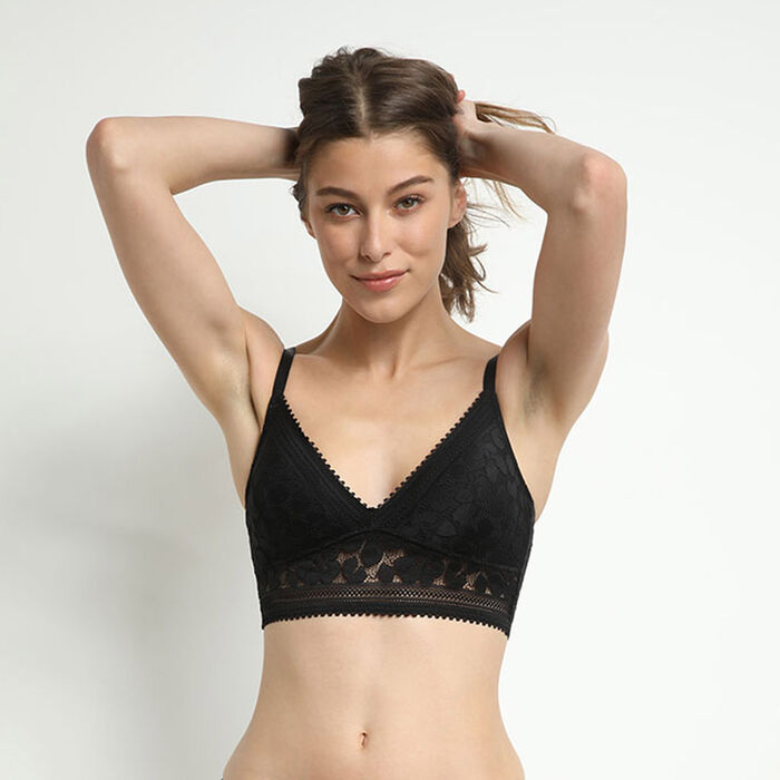 Black Daily Glam padded floral lace triangle bra, , DIM