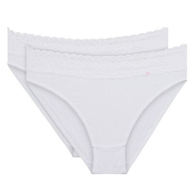 Pack of 2 pairs of Coton Plus Féminine bikini knickers in white, , DIM