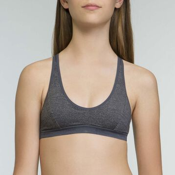 Girls' microfiber sports bra in Dark Heather Grey Dim Micro, , DIM