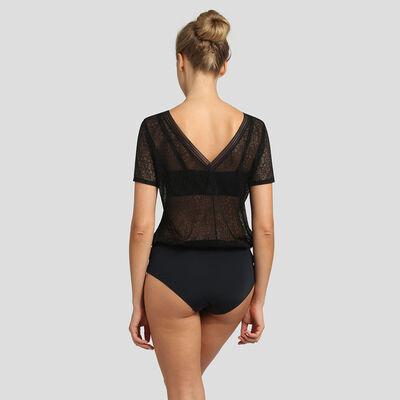 Dim Mod black microfiber and lace bodysuit, , DIM