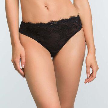 Culotte en dentelle noire et microfibre pour femme Refined Lace, , DIM