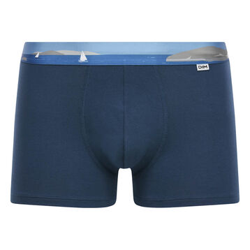 Stretch cotton trunks with printed waistband Klein Blue, , DIM