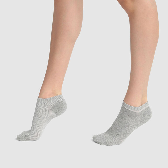 Cotton Style pack of 2 pairs of low socks in Grey cotton and Silver Lurex, , DIM