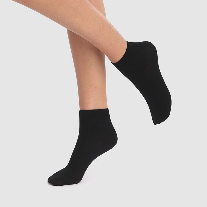 Dim 2 pack women's ankle socks in black Scottish yarn, , DIM