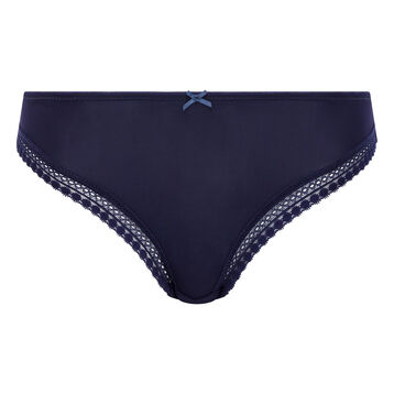 Infinite Blue microfiber thong Micro Lace Panty Box, , DIM