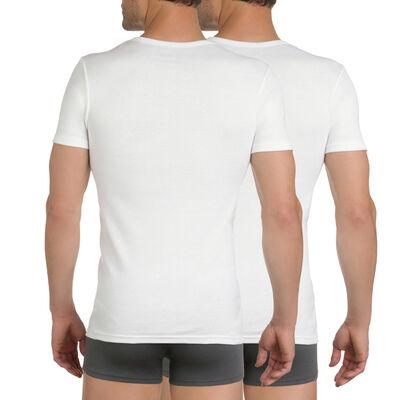 Комплект из 2 белых футболок EcoDIM с v-образным вырезом из 100% хлопка , , DIM