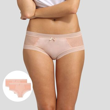 Lot de 2 shortys skin rose Sexy Transparency de Dim, , DIM