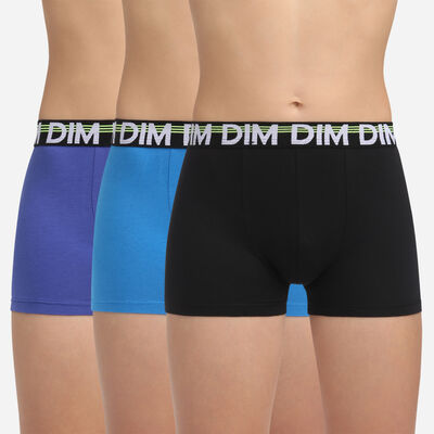 3 pack black stretch cotton trunks Dim Boy Dim Promo Eco, , DIM