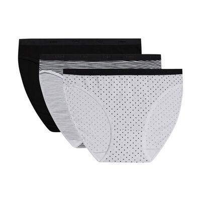 Комплект из 3 женских трусиков-слипов из мягкого хлопка стрейч с черно-белыми узорами Les Pockets, , DIM