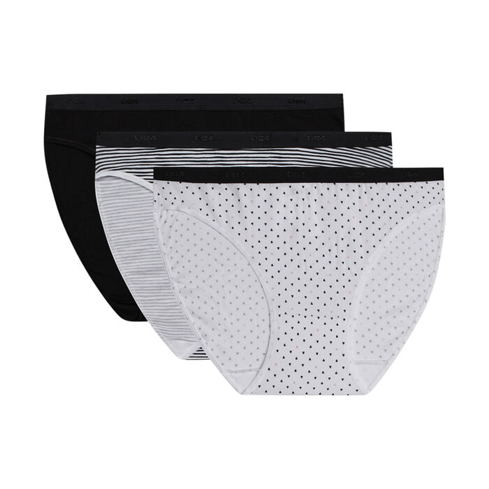 Les Pockets Pack of 3 Women's Cotton Stretch Briefs with Black and White Patterns, , DIM