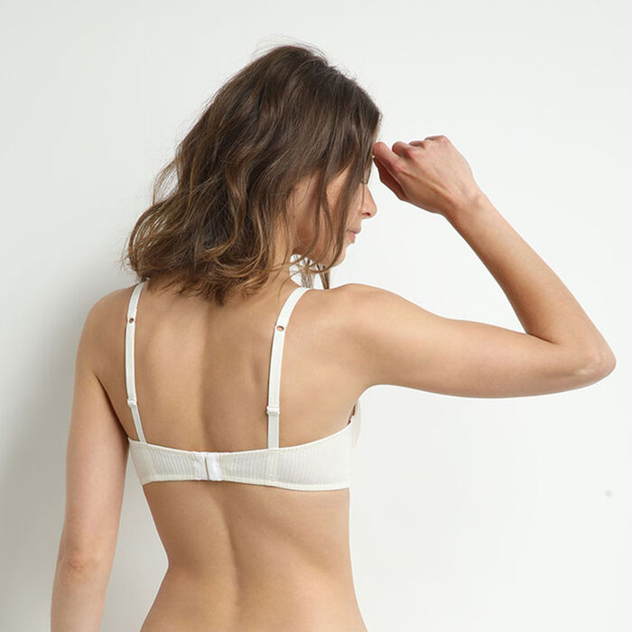Cotton Lace Cotton triangle bra with mother-of-pearl lace, , DIM