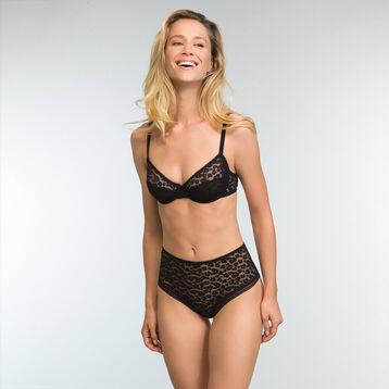 Black printed lace bra Leopard Line, , DIM
