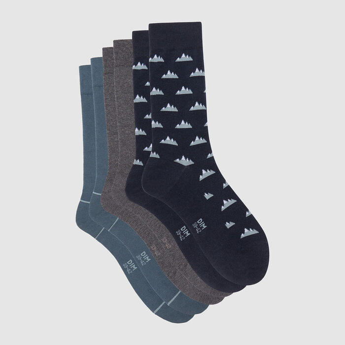 Cotton Style pack of 3 pairs of men's socks with mountain print Blue, , DIM