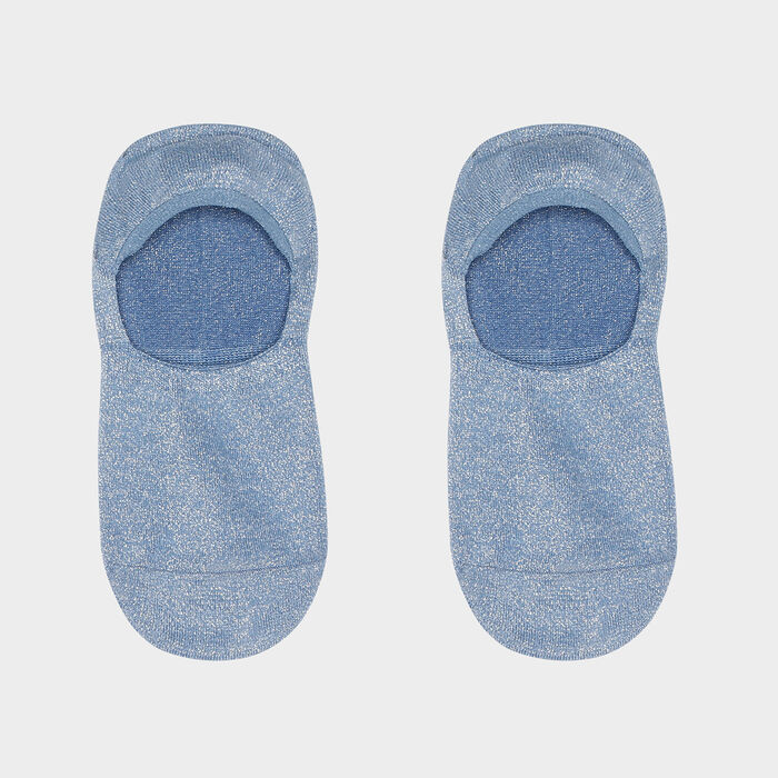 Lot de 2 paires de protèges pieds femmes lurex argent Bleu Coton Style, , DIM