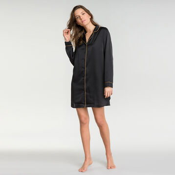 Black sleepshirt in satin - Glamour Chic, , DIM