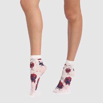 Ivory floral print socks 40D Dim Style, , DIM