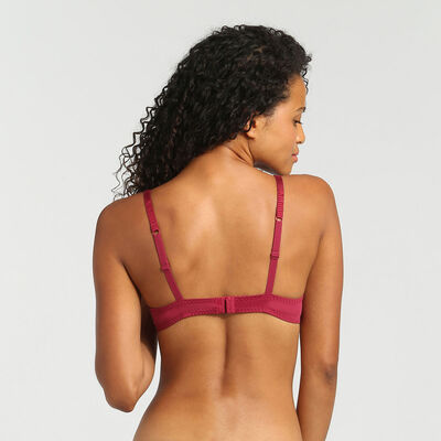 Dim Sublim Dentelle varnish red push-up triangle bra, , DIM