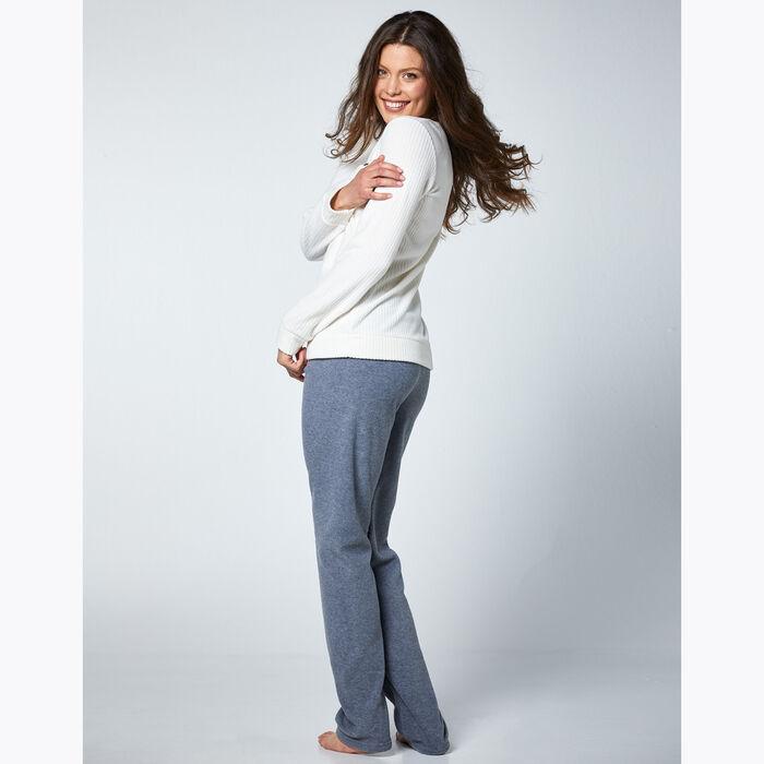 Women's Ivory and Grey Pyjama Set, , DIM