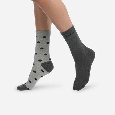 Pack of 2 pairs of light gray cotton style women's socks, , DIM
