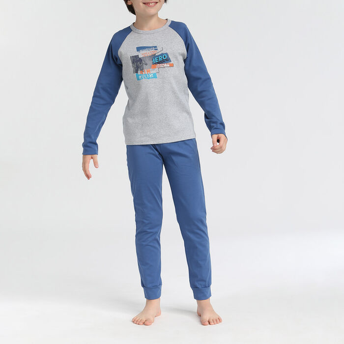 Boy's 2-piece pyjamas with long sleeves and trousers Hero Blue Croisette, , DIM