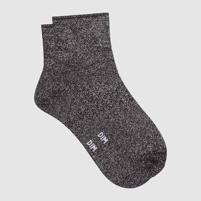 Cotton Style women's brushed cotton and lurex ankle socks Black, , DIM