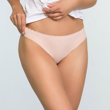 2 Pack Body Touch microfiber thongs Precious Purple and Nude Pink, , DIM