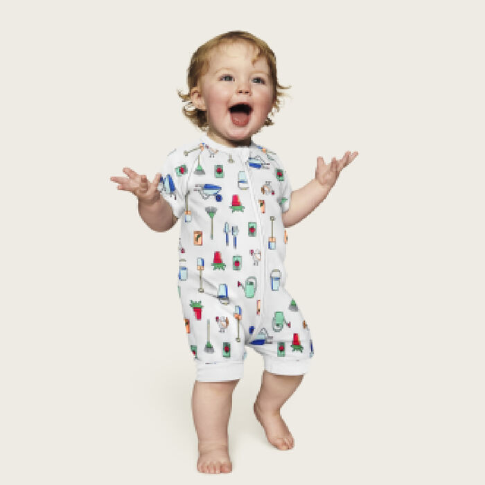 Dim Baby White cotton stretch baby romper with zip and garden motifs, , DIM