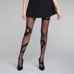 Asymmetrical pattern black 20 tights - DIM Style, , DIM