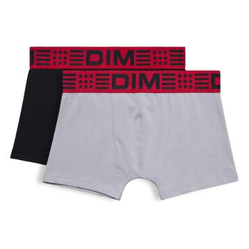 Set of 2 DIM Boy black and grey boxers - DIM
