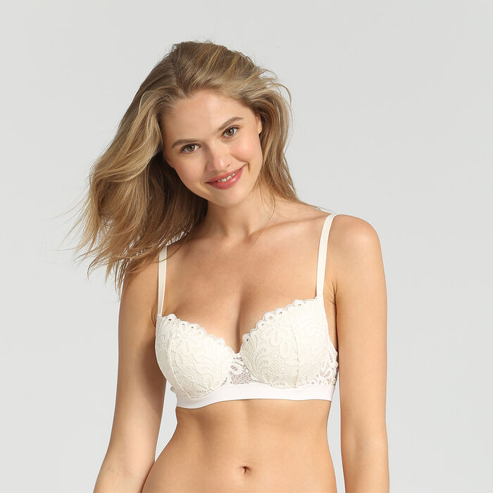 Padded balconette bra Mother-of-pearl Daily Glam by Dim, , DIM