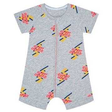 Zipped romper in cotton stretch with Super Hero print Dim Baby, , DIM