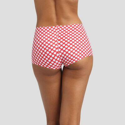 Red high-waist shorty with white polka dots Agnès B. x Dim, , DIM