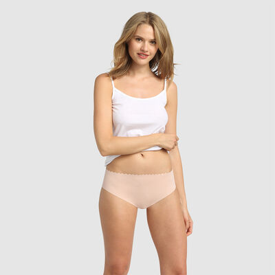 Body Touch pack of 2 stretch cotton hipsters chocolate/nude, , DIM