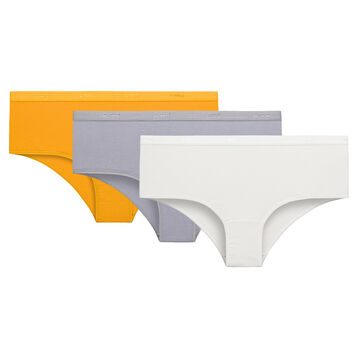 Lot de 3 boxers Femme jaune, gris et blanc - Les Pockets Ecodim , , DIM